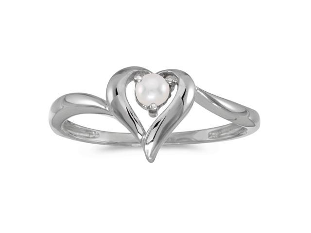 14k White Gold Freshwater Cultured Pearl Heart Ring (Size 8.5)