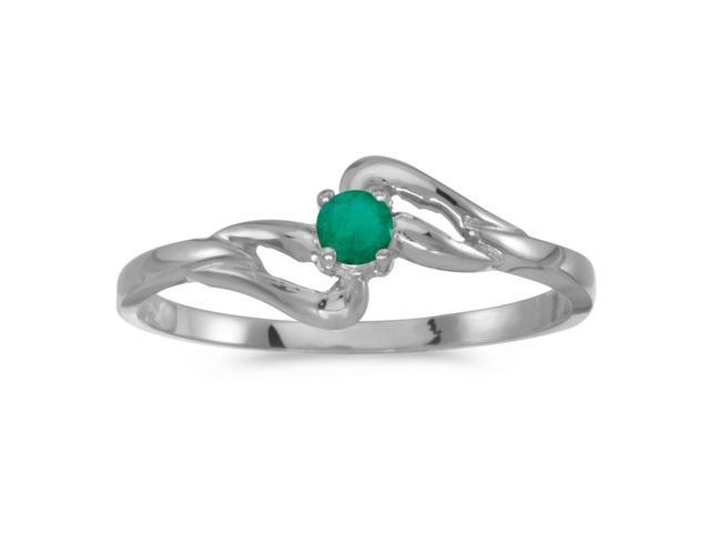 14k White Gold Round Emerald Ring (Size 8)
