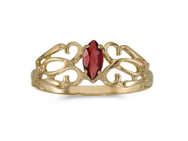 14k Yellow Gold Marquise Garnet Filagree Ring (Size 7)