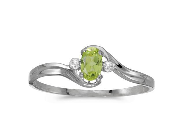 14k White Gold Oval Peridot And Diamond Ring (Size 9)