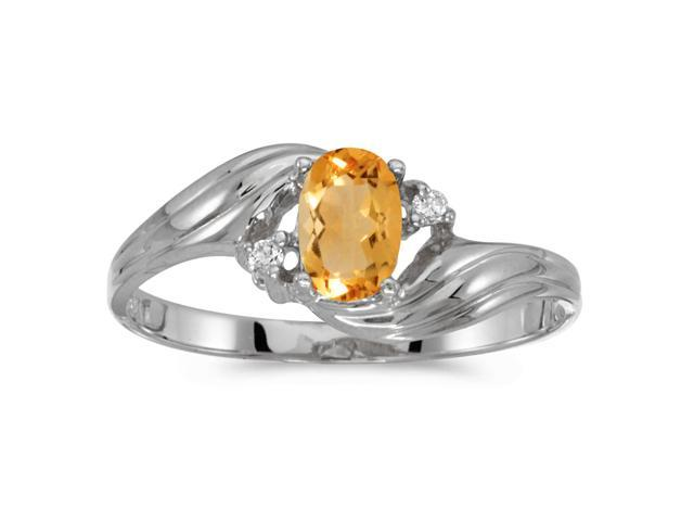 10k White Gold Oval Citrine And Diamond Ring (Size 6)