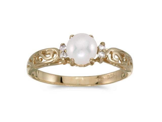 14k Yellow Gold Freshwater Cultured Pearl And Diamond Filagree Ring (Size 7)