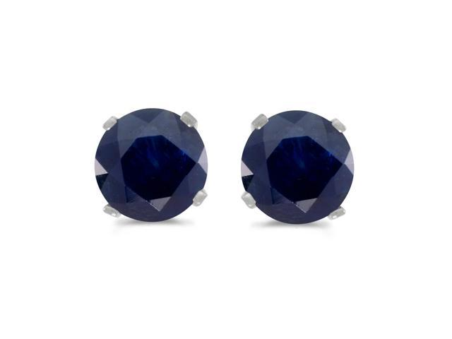 Direct-Jewelry 14k White Gold Round Sapphire Stud Earrings