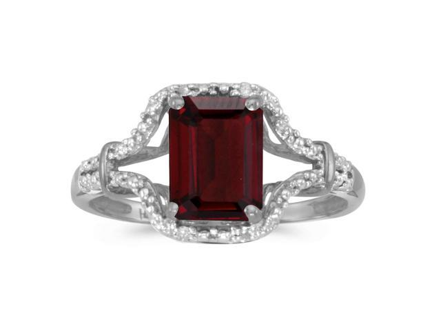 10k White Gold Emerald-cut Garnet And Diamond Ring (Size 10)