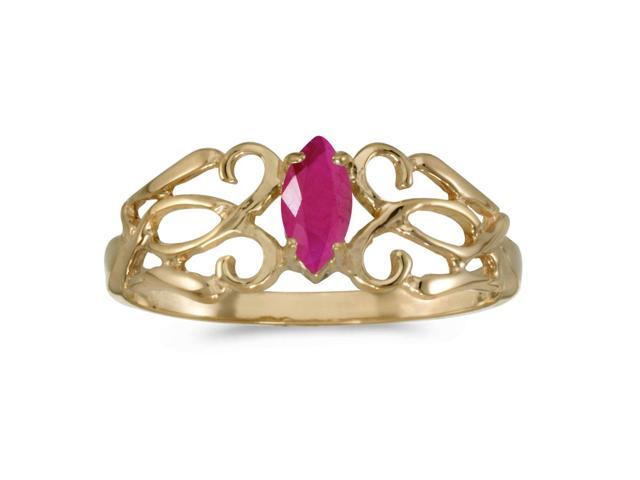 14k Yellow Gold Marquise Ruby Filagree Ring (Size 6)