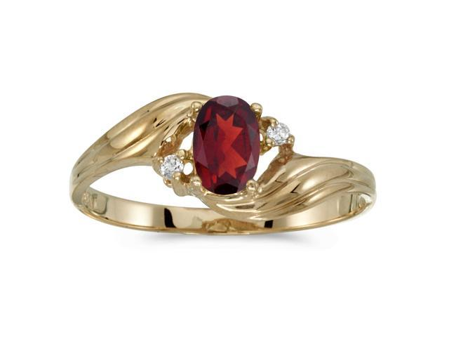 10k Yellow Gold Oval Garnet And Diamond Ring (Size 9)