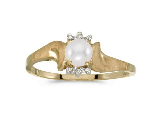 10k Yellow Gold Freshwater Cultured Pearl And Diamond Satin Finish Ring (Size 10)