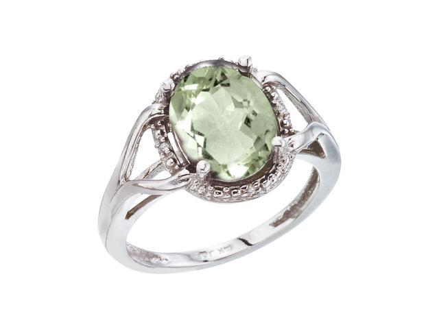 14K White Gold 10x8 Oval Green Amethyst and Diamond Rope Ring (Size 9)