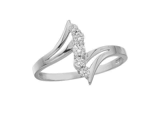 14K White Gold and Diamond Bypass Promise Ring (Size 7)