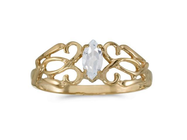 14k Yellow Gold Marquise White Topaz Filagree Ring (Size 8.5)