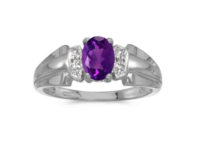 14k White Gold Oval Amethyst And Diamond Ring (Size 8)