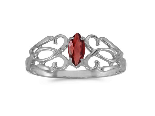 10k White Gold Marquise Garnet Filagree Ring (Size 6.5)