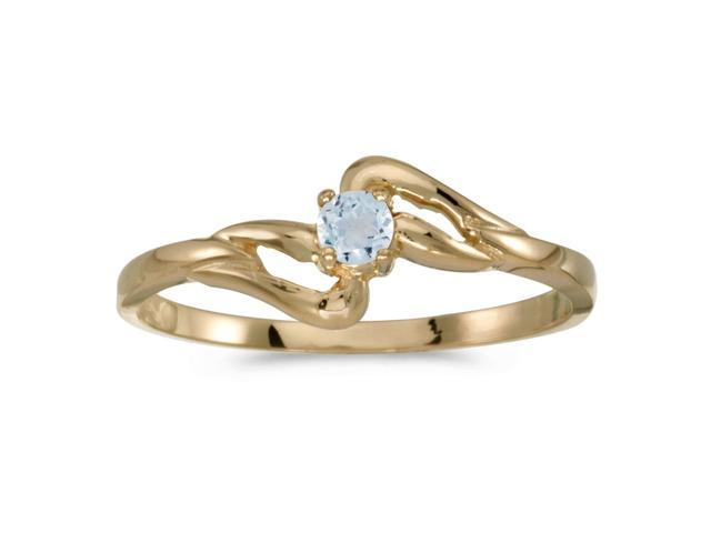 10k Yellow Gold Round Aquamarine Ring (Size 8)