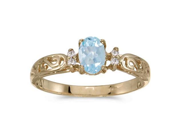 10k Yellow Gold Oval Aquamarine And Diamond Ring (Size 9)