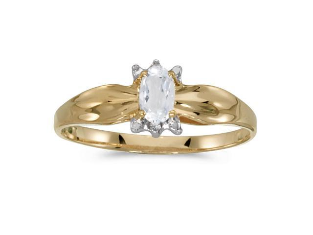 10k Yellow Gold Oval White Topaz And Diamond Ring (Size 6.5)