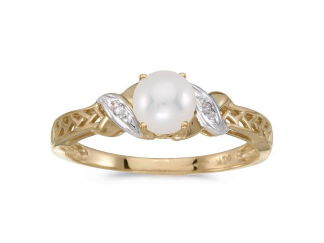 10k Yellow Gold Freshwater Cultured Pearl And Diamond Ring (Size 11)