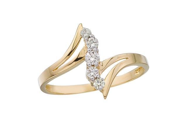 14K Yellow Gold and Diamond Bypass Promise Ring (Size 7)
