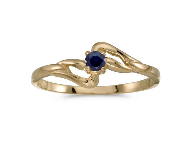 10k Yellow Gold Round Sapphire Ring (Size 9)