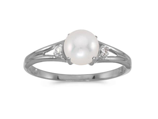 14k White Gold Freshwater Cultured Pearl And Diamond Ring (Size 6.5)