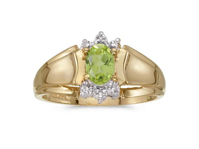 10k Yellow Gold Oval Peridot And Diamond Ring (Size 8.5)