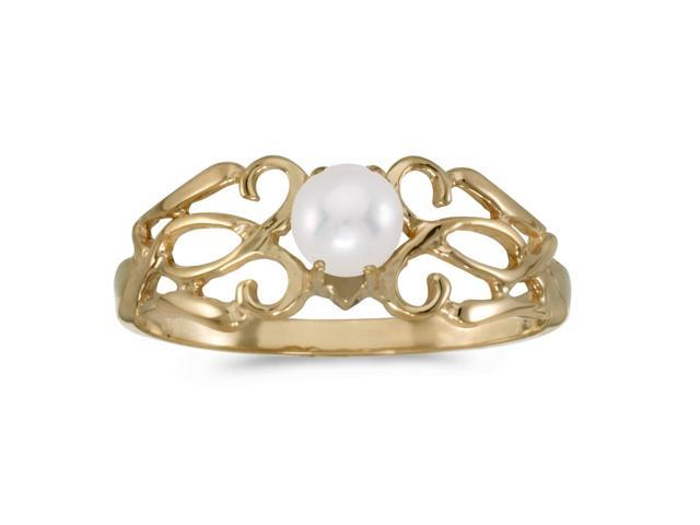14k Yellow Gold Freshwater Cultured Pearl Filagree Ring (Size 10)
