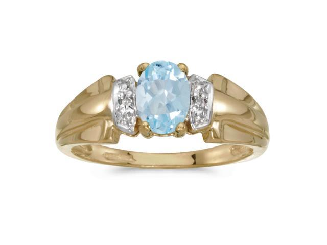 10k Yellow Gold Oval Aquamarine And Diamond Ring (Size 10.5)