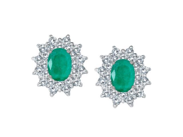 14k White Gold Oval Emerald and Diamond Stud Earrings