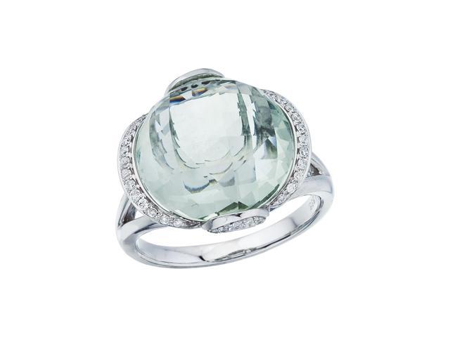 14K White Gold Green Amethyst and Diamond Dome Ring (Size 6)