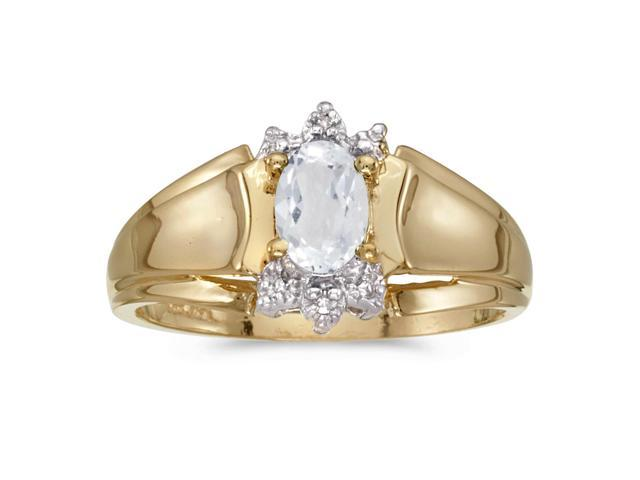 14k Yellow Gold Oval White Topaz And Diamond Ring (Size 4.5)
