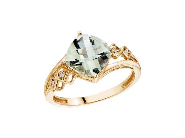 14K Yellow Gold 8 mm Cushion Green Amethyst and Diamond Ring (Size 6)