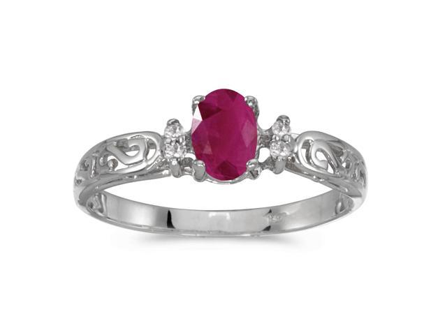 10k White Gold Oval Ruby And Diamond Ring (Size 8.5)