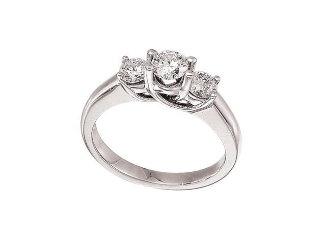 14k White Gold 0.75 Ct Three Stone Trellis Diamond Ring (Size 5)