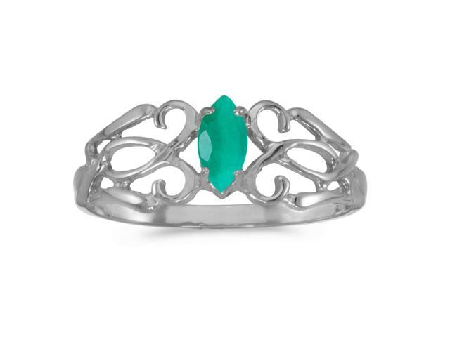 14k White Gold Marquise Emerald Filagree Ring (Size 9)