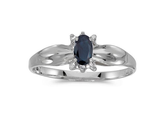 10k White Gold Oval Sapphire And Diamond Ring (Size 5)