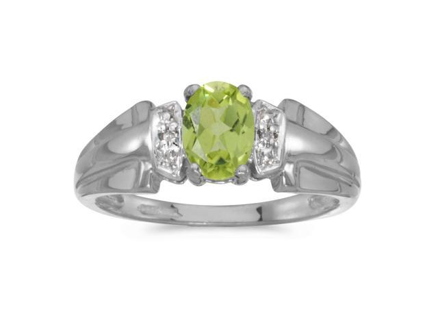 10k White Gold Oval Peridot And Diamond Ring (Size 5)