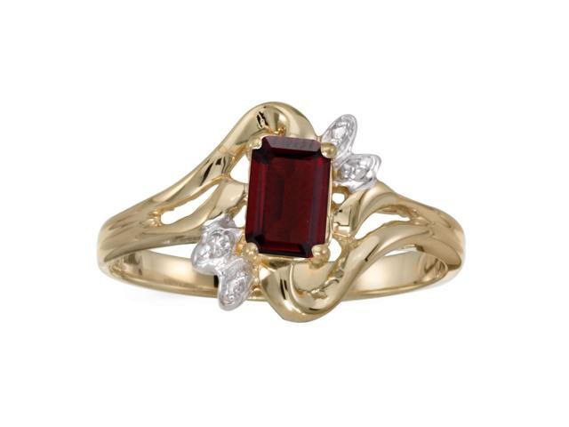 14k Yellow Gold Emerald-cut Garnet And Diamond Ring (Size 6.5)