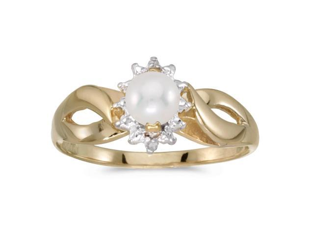 10k Yellow Gold Freshwater Cultured Pearl And Diamond Ring (Size 7)