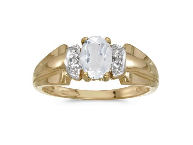 14k Yellow Gold Oval White Topaz And Diamond Ring (Size 6)