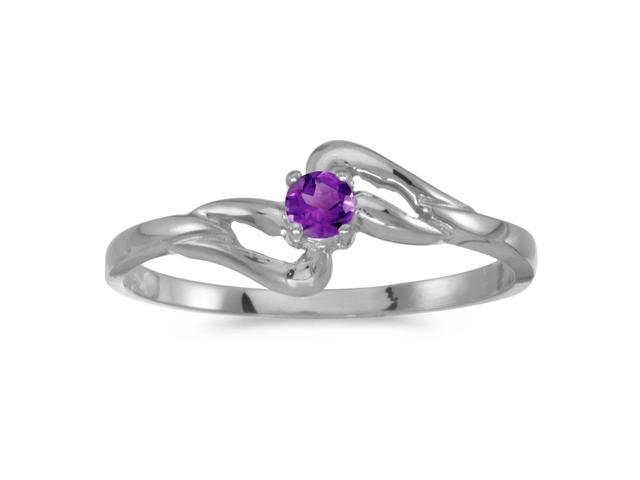 14k White Gold Round Amethyst Ring (Size 6.5)