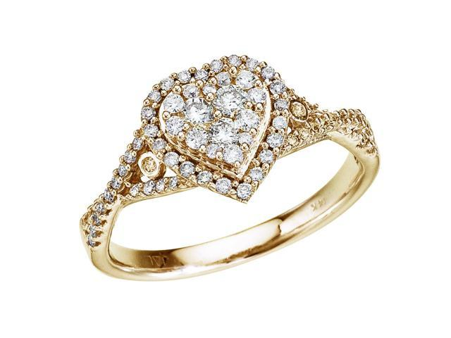 14K Yellow Gold .50 Ct Diamond Heart Ring (Size 6.5)