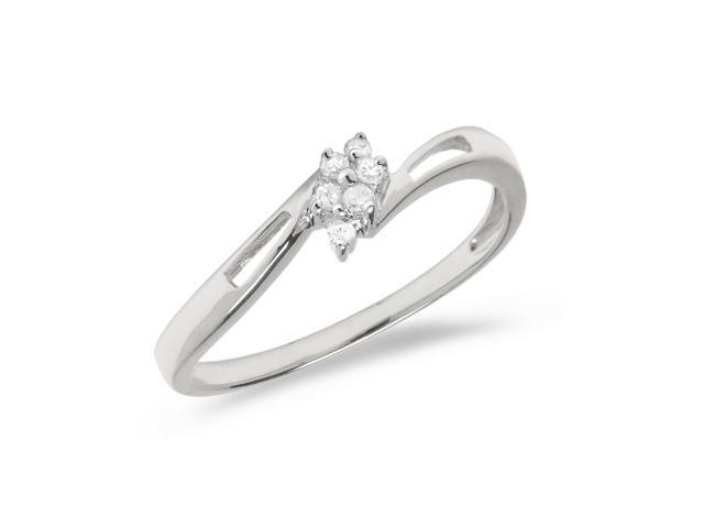 14K White Gold Diamond Cluster Ring (Size 9)