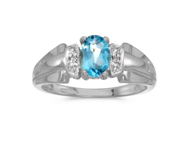 10k White Gold Oval Blue Topaz And Diamond Ring (Size 9.5)