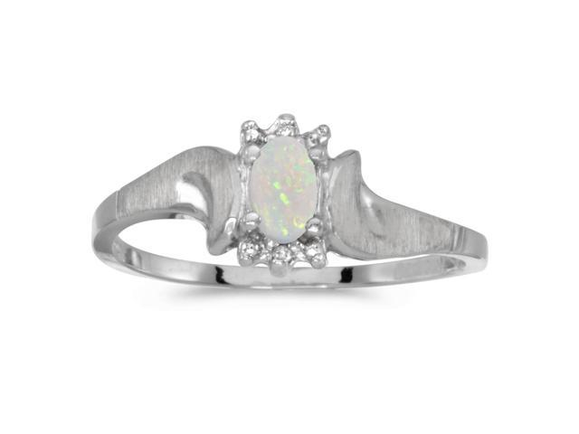 14k White Gold Oval Opal And Diamond Satin Finish Ring (Size 4.5)