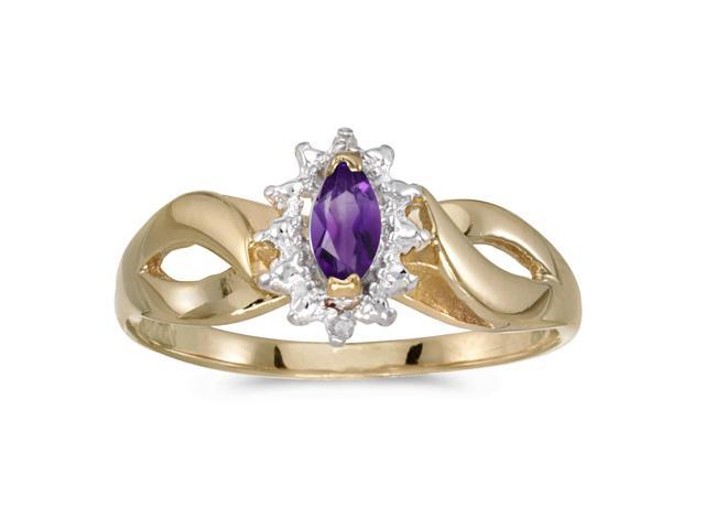10k Yellow Gold Marquise Amethyst And Diamond Ring (Size 7.5)