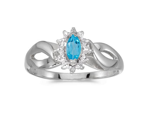 14k White Gold Marquise Blue Topaz And Diamond Ring (Size 5)