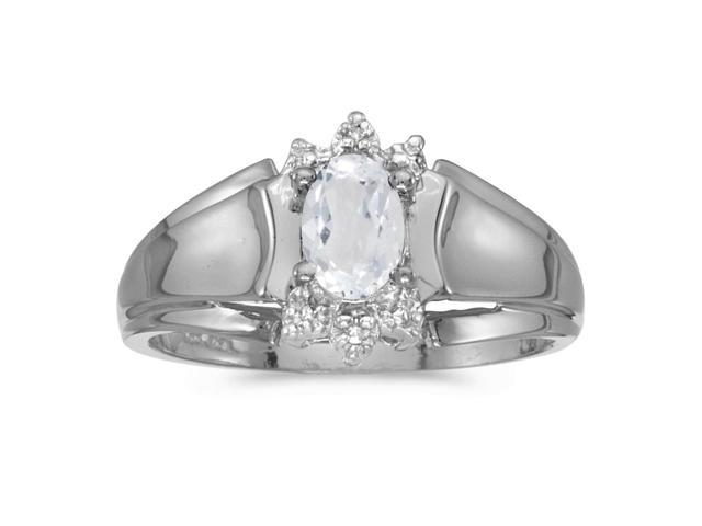 14k White Gold Oval White Topaz And Diamond Ring (Size 8)