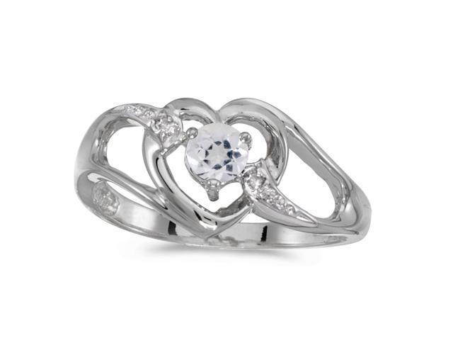 10k White Gold Round White Topaz And Diamond Heart Ring (Size 4.5)
