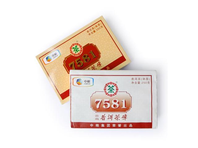 [CHINYEA TEAPARK] Kunming Tea factory 7581 Ripe Puerh Brick (250g) - China Yunnan High Qulity Old Puerh Tea