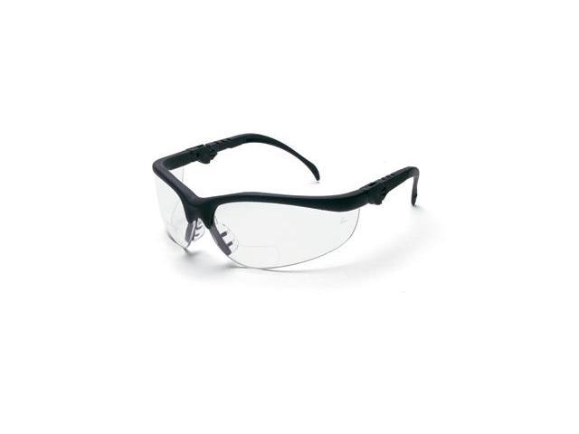Crews  Klondike Magnifier  Safety Glasses - Black Frame And Clear 1.5 Diopt...