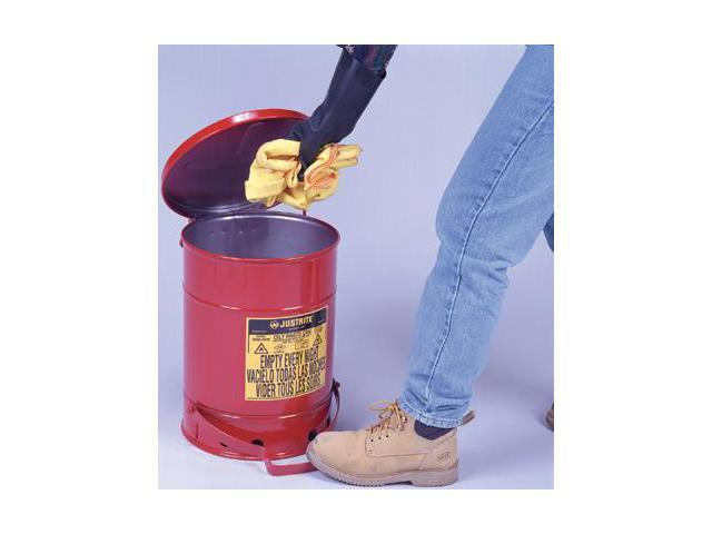 Justrite 10 Gallon Red Oily Waste Can